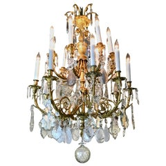 Exceptional French Chandelier, Bronze Dore Clear Crystal, Rock and Smoke Crystal