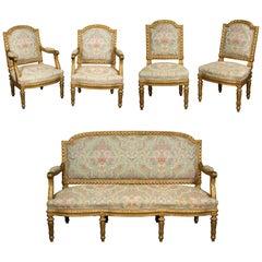 Exceptional French Louis XVI  Style Five-Piece Gilt-wood Salon Suite Set