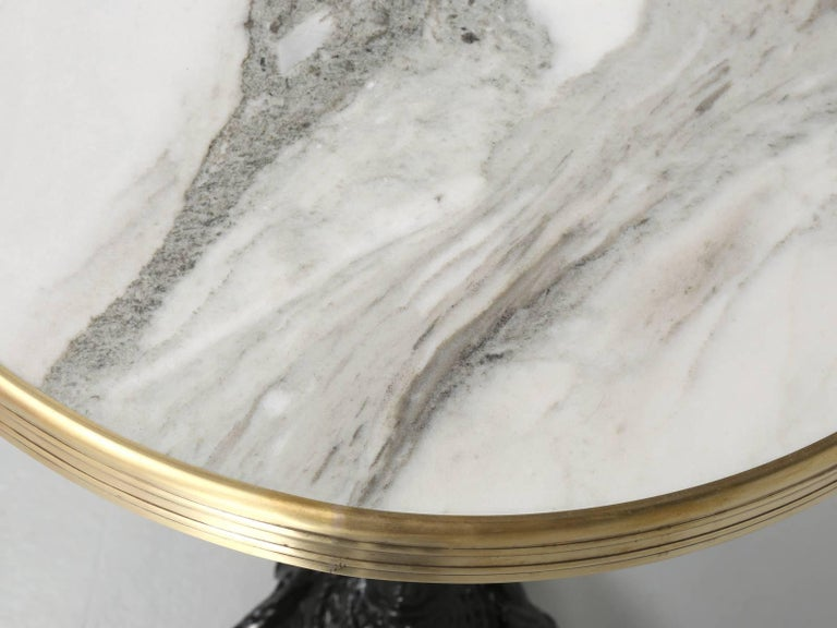 Exceptional French Marble and Brass Bistro Table In Good Condition For Sale In Chicago, IL