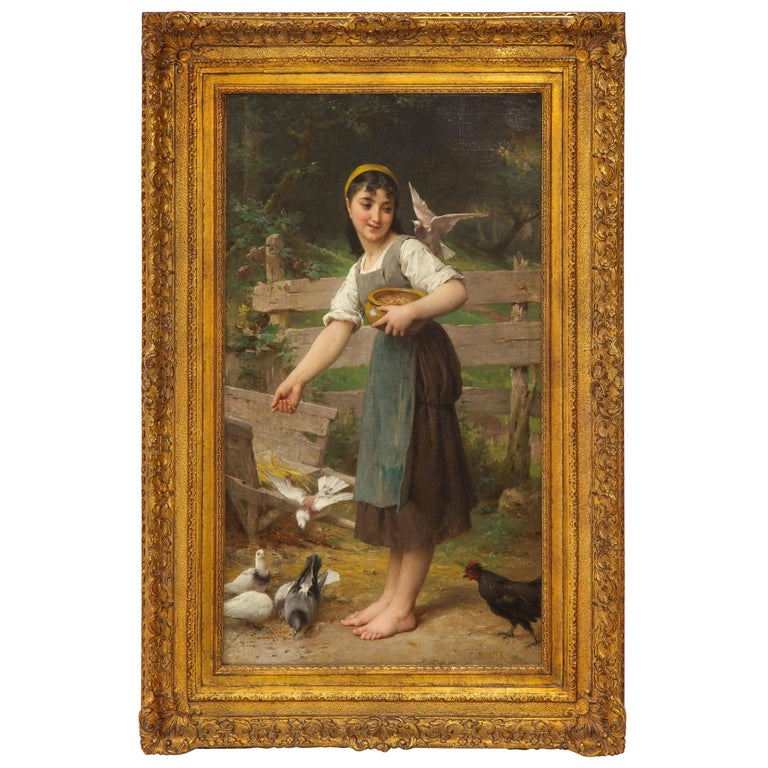 """Exceptional French Oil on Canvas, """"Feeding the Doves"""", Signed by E. Munier For Sale"""