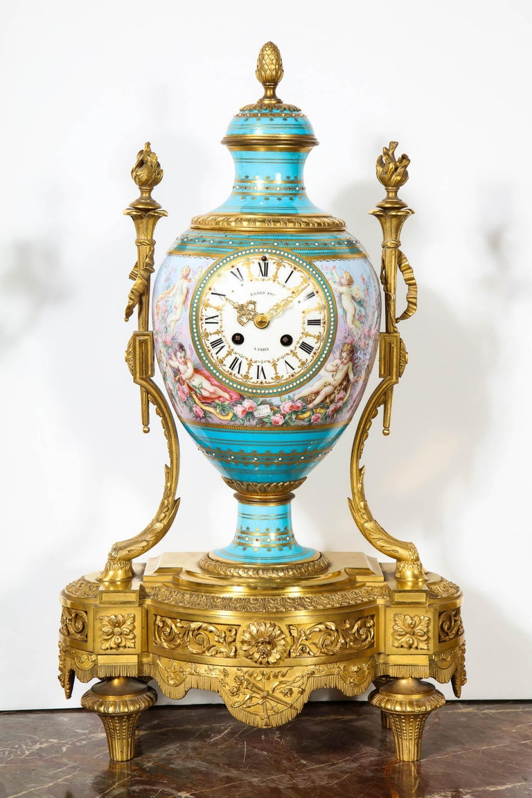 Exceptional French Ormolu-Mounted Turquoise Jeweled Sevres Porcelain Clock Set 5
