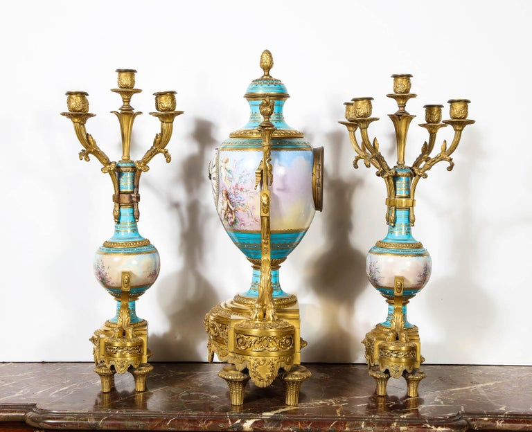 Exceptional French Ormolu-Mounted Turquoise Jeweled Sevres Porcelain Clock Set 9
