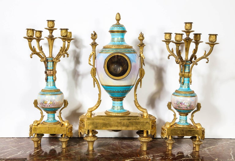Exceptional French Ormolu-Mounted Turquoise Jeweled Sevres Porcelain Clock Set 11