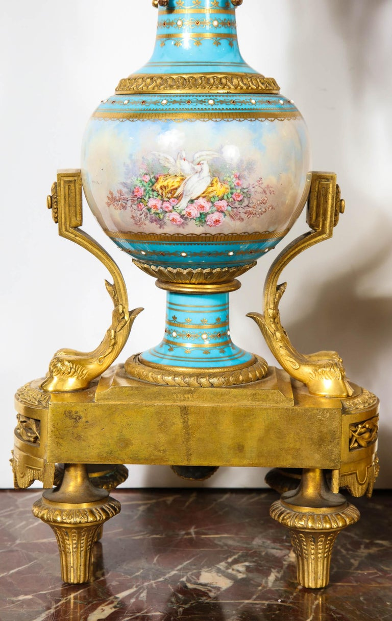 Exceptional French Ormolu-Mounted Turquoise Jeweled Sevres Porcelain Clock Set 12