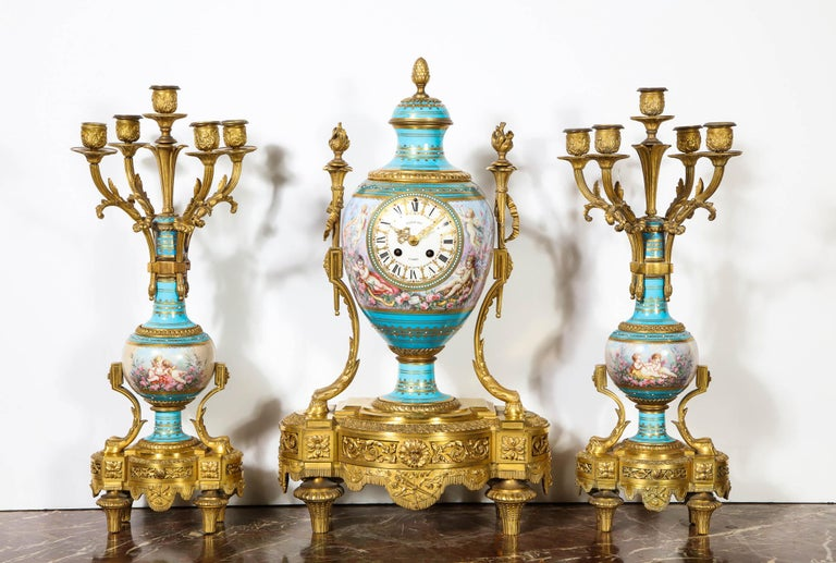 Napoleon III Exceptional French Ormolu-Mounted Turquoise Jeweled Sevres Porcelain Clock Set