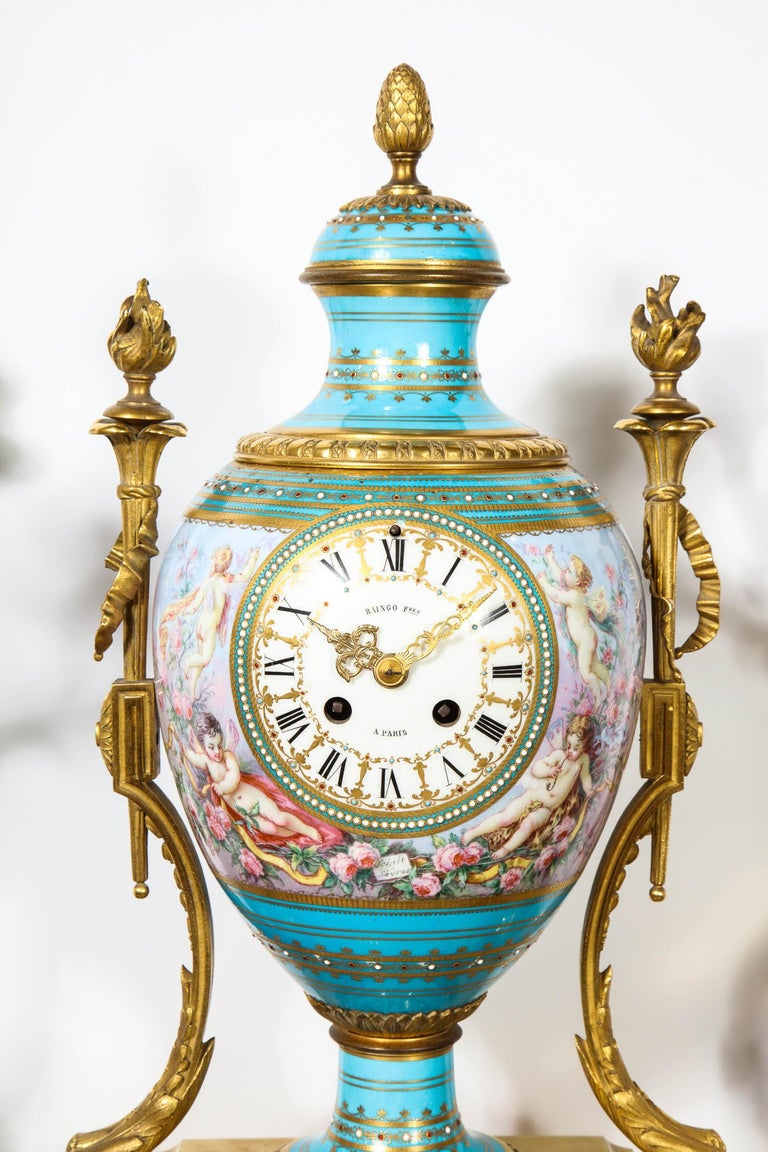 Exceptional French Ormolu-Mounted Turquoise Jeweled Sevres Porcelain Clock Set In Good Condition In New York, NY
