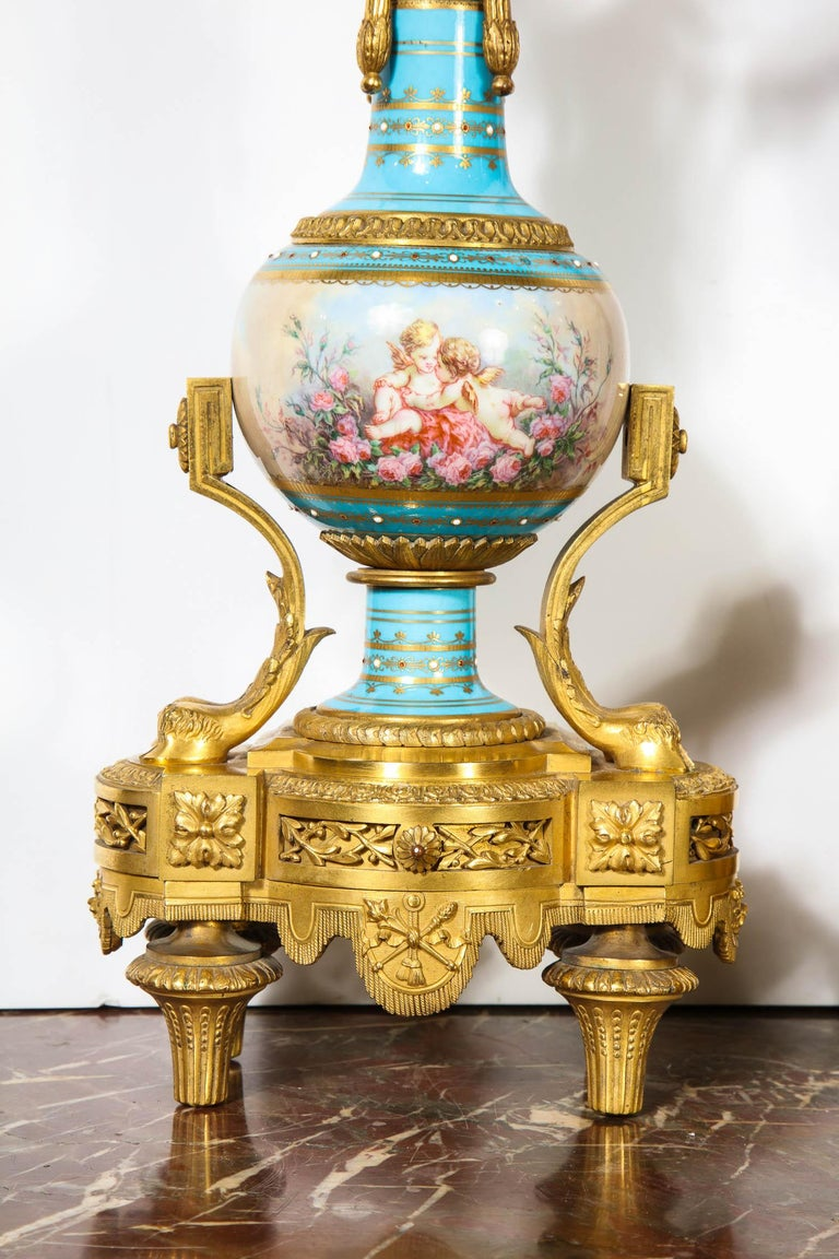Bronze Exceptional French Ormolu-Mounted Turquoise Jeweled Sevres Porcelain Clock Set
