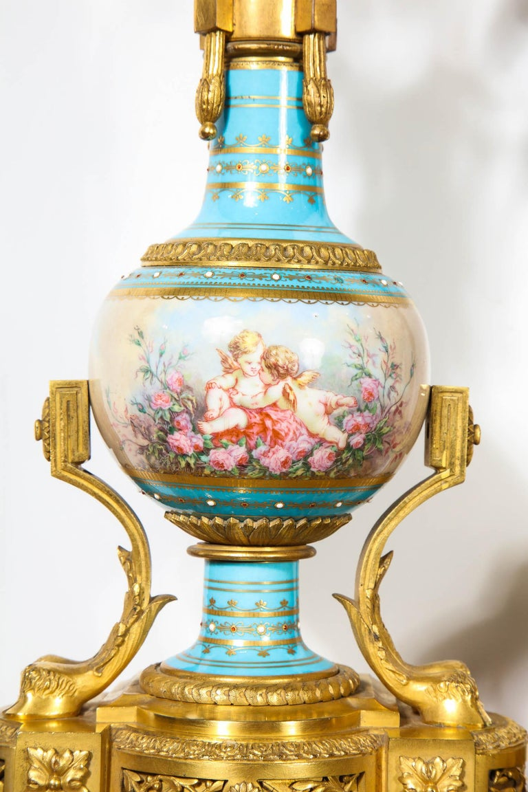 Exceptional French Ormolu-Mounted Turquoise Jeweled Sevres Porcelain Clock Set 1