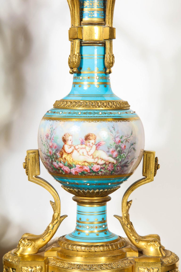 Exceptional French Ormolu-Mounted Turquoise Jeweled Sevres Porcelain Clock Set 2