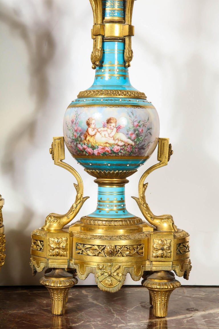 Exceptional French Ormolu-Mounted Turquoise Jeweled Sevres Porcelain Clock Set 3