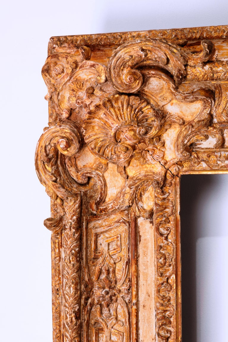 Baroque Exceptional French Regence Period Carved and Giltwood Mirror, Frame, France For Sale