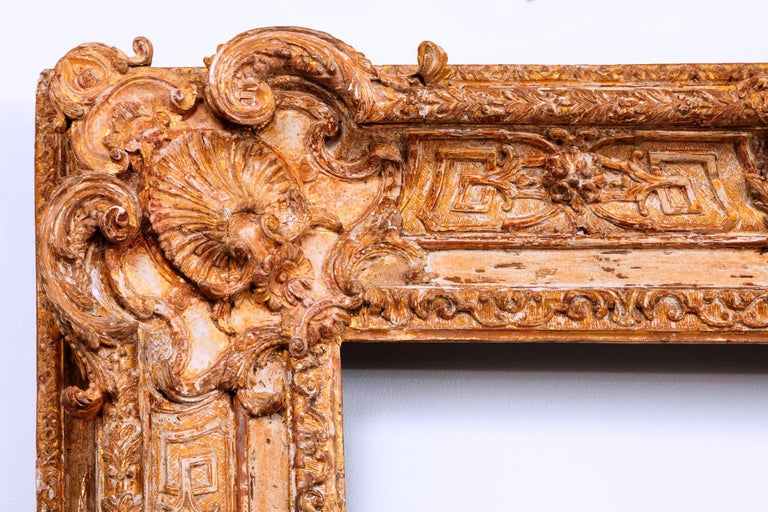 18th Century Exceptional French Regence Period Carved and Giltwood Mirror, Frame, France For Sale