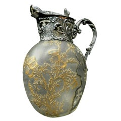 Exceptional French Silver & Daum Glass Wine Ewer / Claret Jug, France Circa 1900