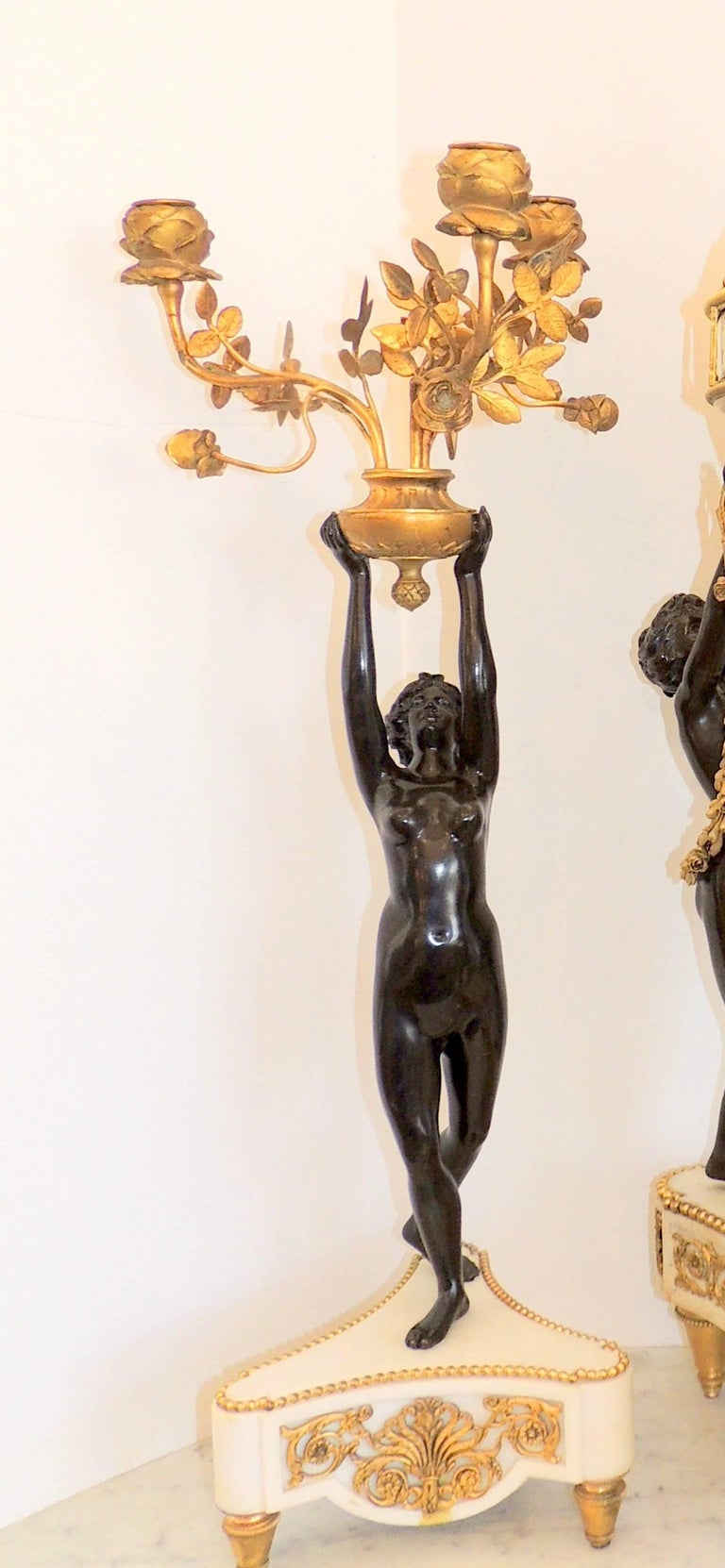 Louis XVI Exceptional French Three Graces Piece Rotary Mystery Clock Set Candelabra Suite For Sale