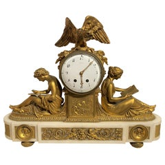 Exceptional French Tiffany & Co Gilt Bronze Mantel Clock with Marble Base