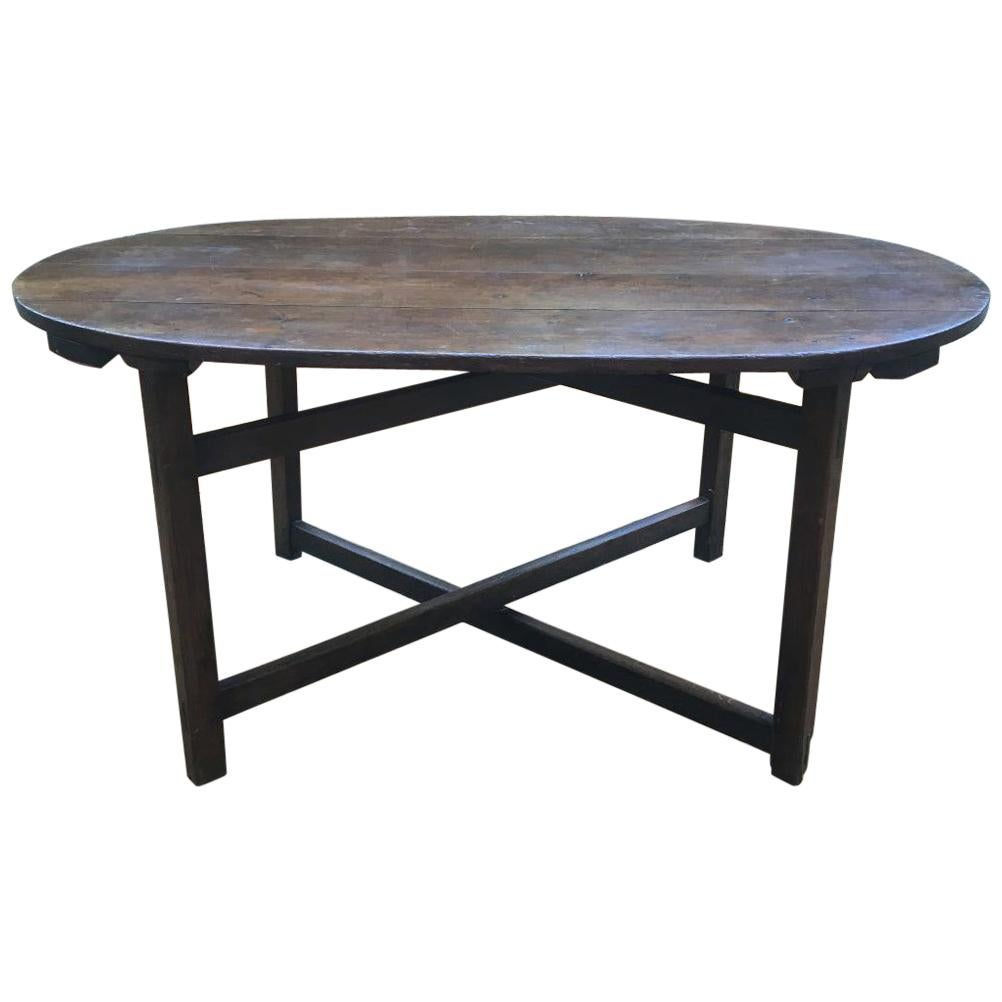 Exceptional French Wine Folding Oval Oak Table, circa 1820 from Burgundy`