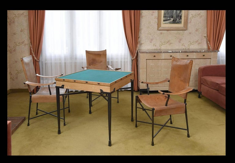 French Etienne Kohlmann Exceptional Game Table and Chairs  For Sale