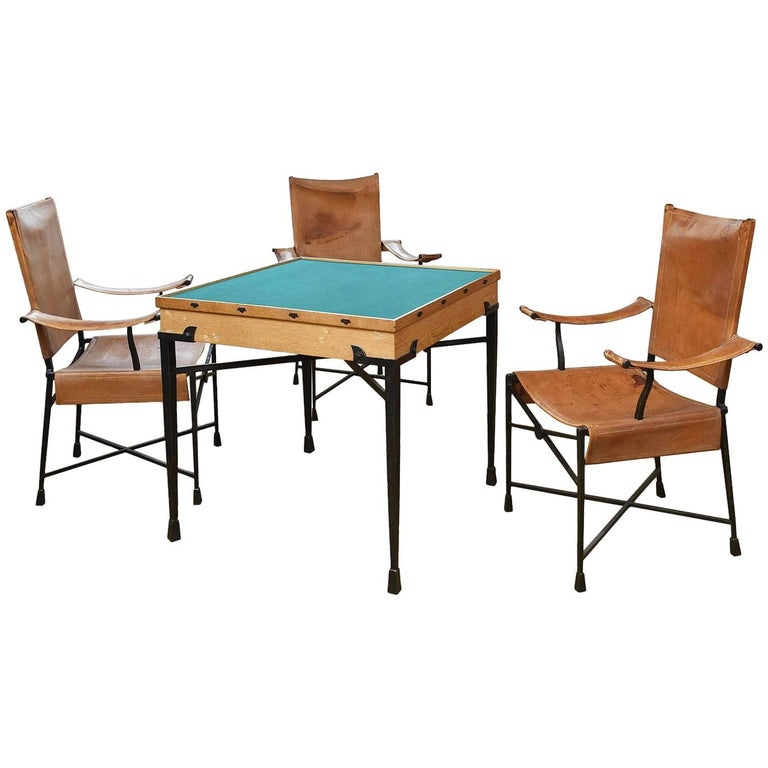 Etienne Kohlmann Exceptional Game Table and Chairs  For Sale