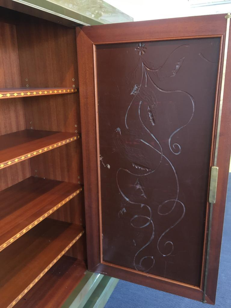 Exceptional Gaston Poisson & Robert Pansart Cabinet Lacquered Mahogany, Art Deco For Sale 6