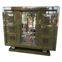 Exceptional Gaston Poisson & Robert Pansart Cabinet Lacquered Mahogany, Art Deco