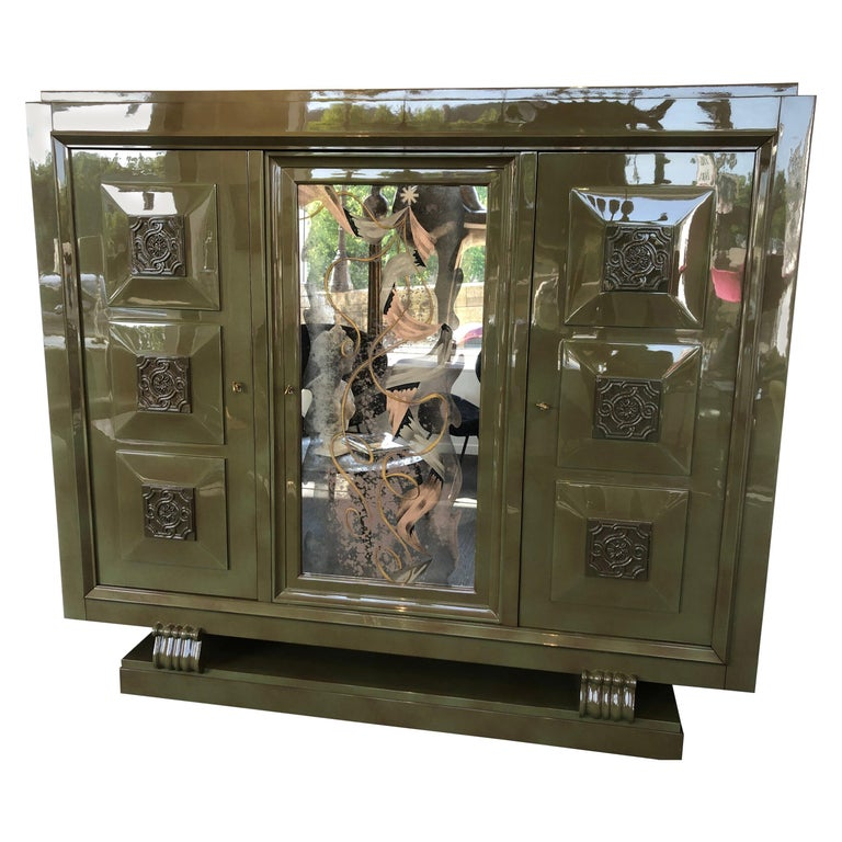 Exceptional Gaston Poisson & Robert Pansart Cabinet Lacquered Mahogany, Art Deco For Sale