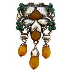 Exceptional Georg Jensen Silver Amber Malachite Master Brooch C.1933