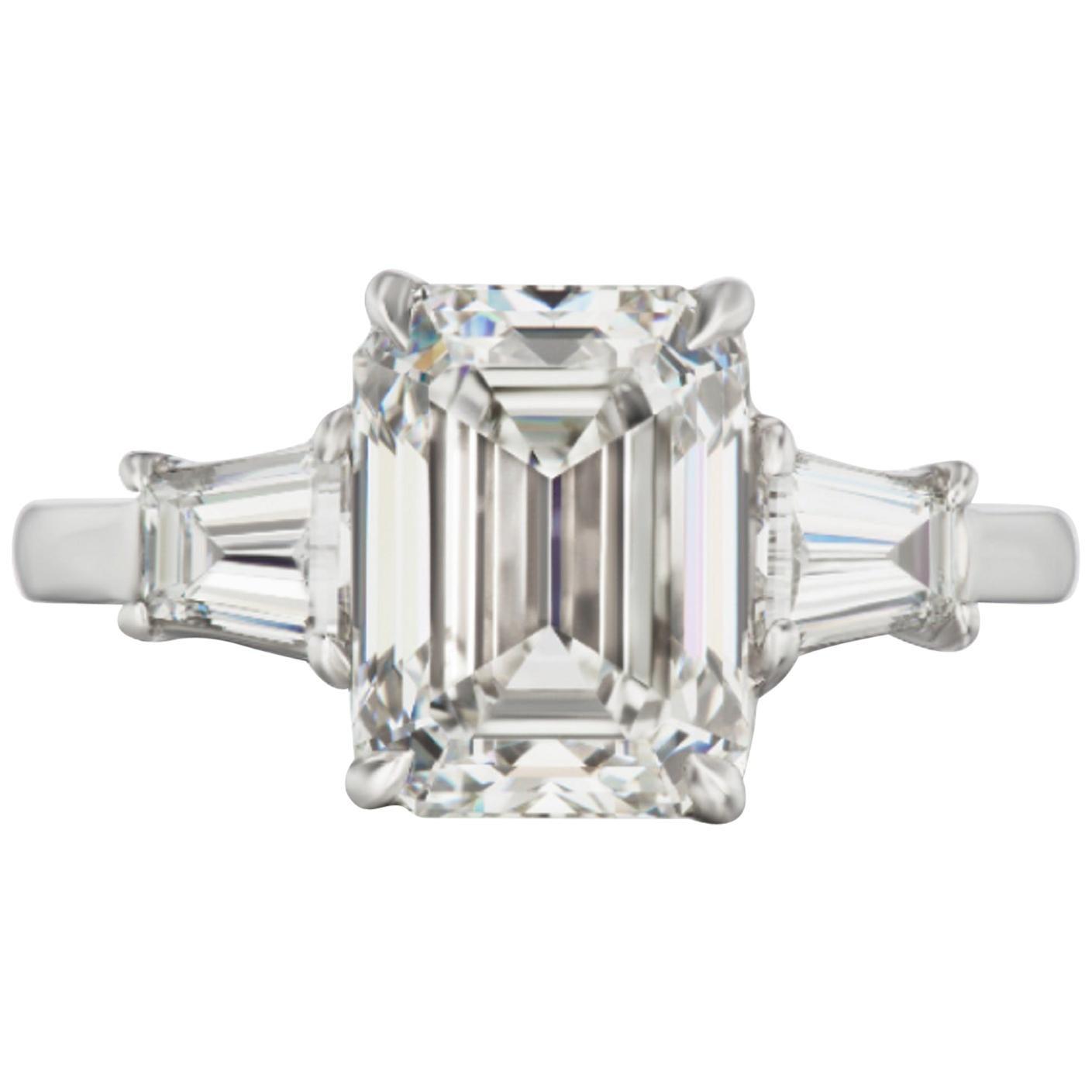 IGI ANTWERP 3 Carat Emerald Cut Diamond Ring