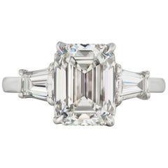 GIA 2.65 Carat Emerald Cut Solitaire Ring E Color VS Clarity