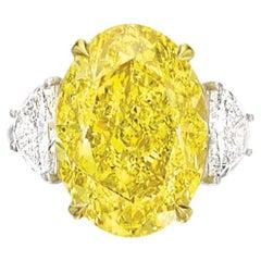 Exceptional GIA 3 Carat Fancy Vivid Yellow Oval Diamond Half Moon Ring