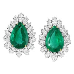 GIA and AGL Certified 24.54 Carat Pear Cut Emeralds Earrings