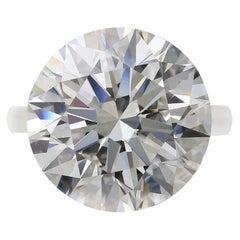 GIA Certified 7.08 Carat Round Brilliant Cut Platinum Diamond Ring