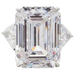 GIA Certified 9 Carat Emerald Cut Diamond Platinum Solitaire Ring