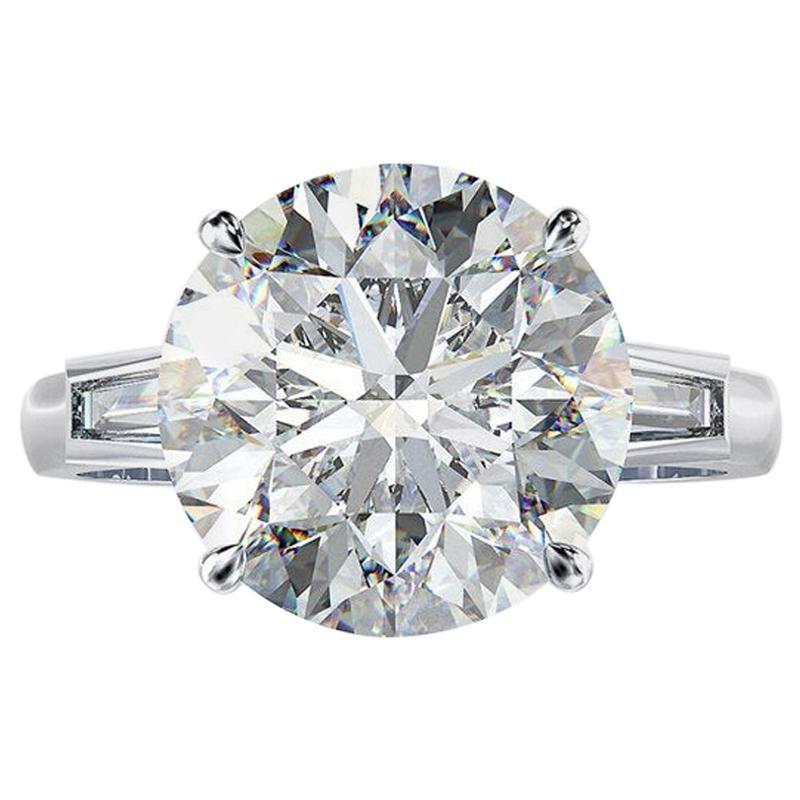 GIA Certified 12.50 Carat Round Diamond Ring E Color