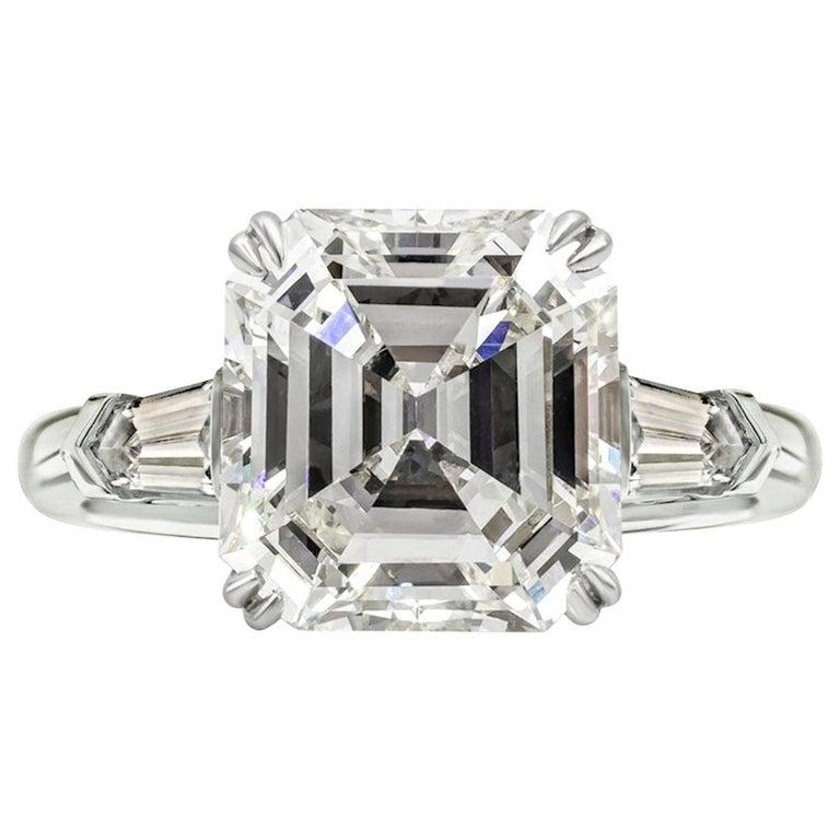 GIA Certified 3.50 Carat Asscher Cut Diamond VVS1 Clarity H Color For Sale