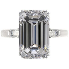 Exceptional GIA Certified 3.50 Carat Emerald Cut Diamond Platinum Ring D Color