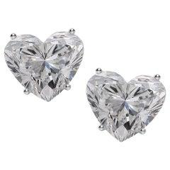 GIA Certified 4.04 Carat Heart Shape Diamond Studs D VS