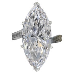 Exceptional GIA Certified 4.04 Marquise Diamond Platinum Ring