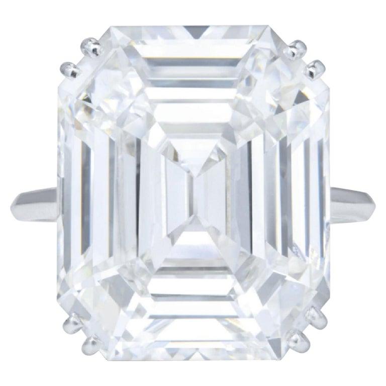 IGI ANTWERP 5 Carat Emerald Cut Diamond Ring For Sale