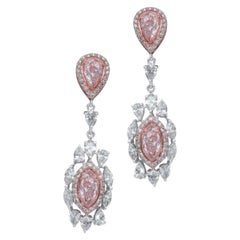 GIA Certified 4.95 Pink and White Diamond Dangle Earrings
