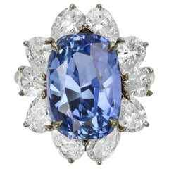 GIA Certified 5 Carat Cornflower Blue Sapphire and Pear Cut Platinum Ring