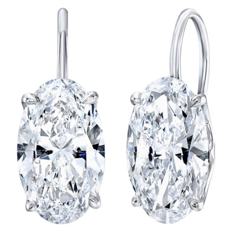 GIA Certified 8 Carat Oval Cut Diamond Drop Dangle Earrings VVS Clarity F Color