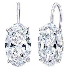 GIA Certified 6.11 Carat Oval Cut Diamond Drop Dangle Earrings