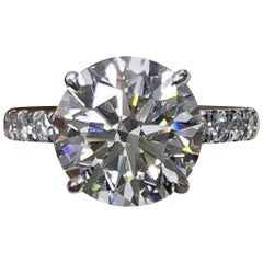 Flawless GIA Certified 6.50 Carat Round Brilliant Cut Diamond Ring