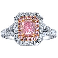 Exceptional GIA Certified Radiant 0.77 Carat Fancy Intense Pink Diamond Ring