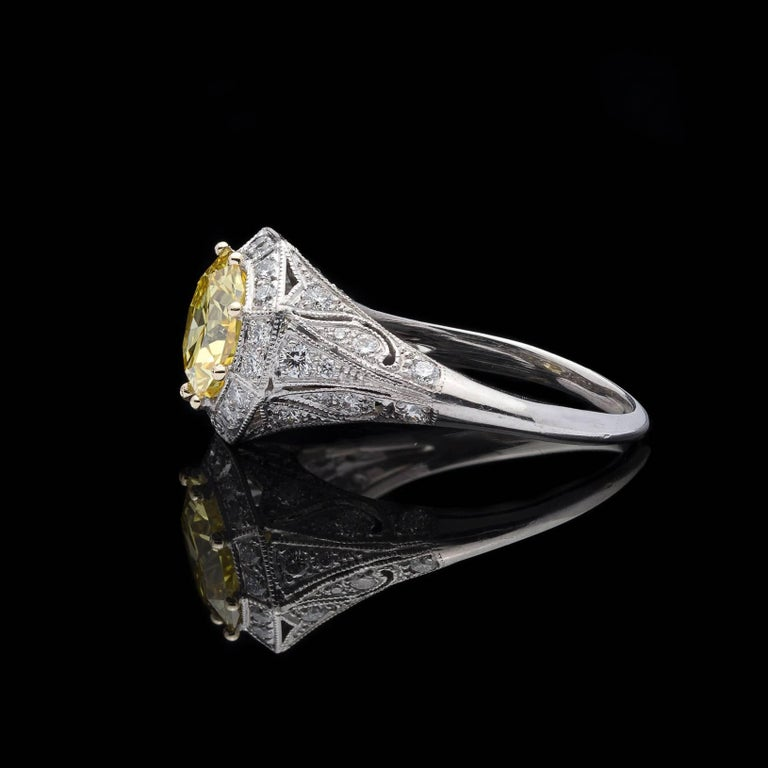 Exceptional GIA Fancy Intense Yellow Diamond in French Platinum Ring In New Condition In San Francisco, CA