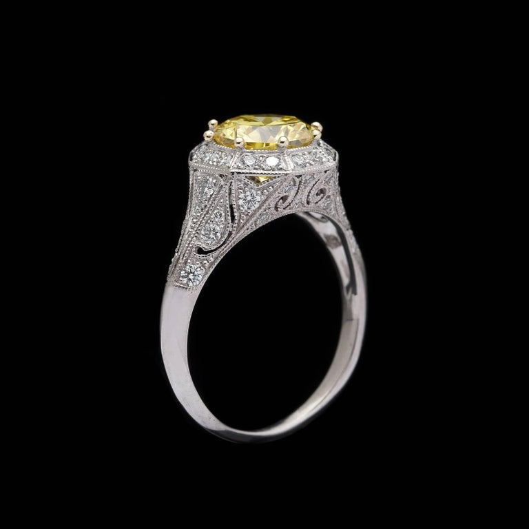 Women's or Men's Exceptional GIA Fancy Intense Yellow Diamond in French Platinum Ring