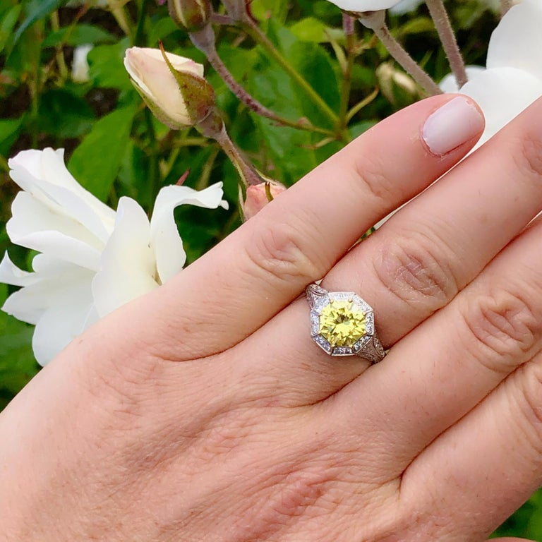 Exceptional GIA Fancy Intense Yellow Diamond in French Platinum Ring 2