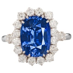 Exceptional GIA IGI Certified 5 Carat Kashmir Blue Cushion Sapphire Diamond Ring