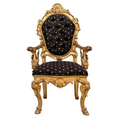 Exceptional Gilded Ornate Salon Armchair