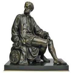 Exceptional Grand Tour Bronze Figure of a Seated Renaissance Sculptor